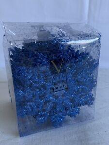 "Vickerman Glitter Snowflake Christmas Ornaments With 24 Per  Box, 4"", Blue"