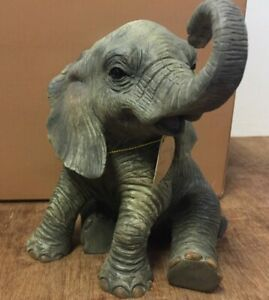 Out of Africa Sitting Baby Elephant Ornament Figurine 15cm Tall Elephant Statue