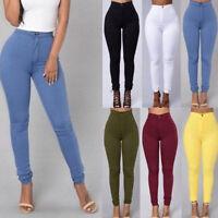 Women Pencil Stretch Skinny Jeans Pants High Waist Slim Fit Cotton Trousers