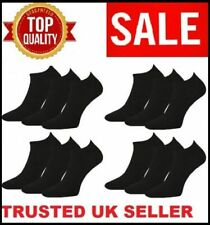 12 Pairs Men's Plain Trainer Socks Boot Ankle Footwear Black Uk Size 6-11 TRKY