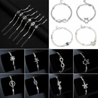 Fashion Stainless Steel Chain Crystal Animal Women Bangle Bracelet Jewellery