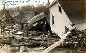1927 MASSACHUSETTS RPPC POSTCARD: POST OFFICE SWEPT AWAY & DESTROYED, BECKET, MA