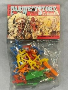 VINTAGE BLISTER FARWEST STORY INDIANS FIGURES MADE IN 80'S BY GULLIVER NO AIRFIX