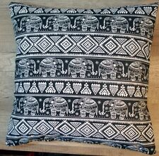 Lovely Handmade Cushion Cover - Titicaca Elephants - Black / Ivory