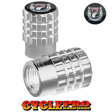 2 Silver Billet Knurled Tire Valve Cap Motorcycle - LUCKY 7 SHOE - 043