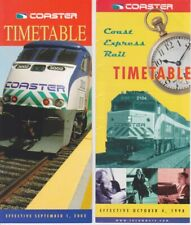 Coaster Coast Express Rail Timetable Schedule 1998 & 2002 Fares and information