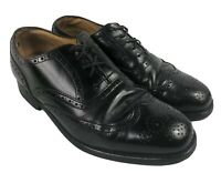Polo Ralph Lauren Men's Size 8.5 Wingtip Oxford Shoe Black Leather Lace up Italy