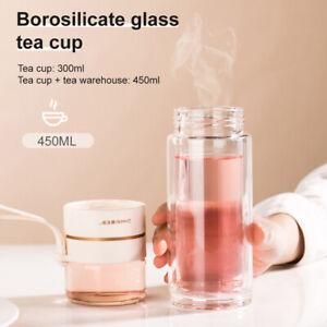 Double Wall Glass Water Bottle Tea Infuser Filter Tea Separation Tumbler Tea Cup