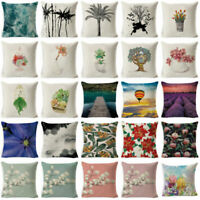 "18"" Cotton Linen Plant Flowers Throw Pillow Case Cushion Cover Home Sofa Decor"