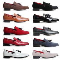 Men's Slip On Tassel Loafers Suede Leather Lined Heel Decorative Stitch Shoes