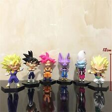 Anime Dragon Ball Z 6pcs Set PVC Figure Goku Whis Birusu w Base Loose Pack