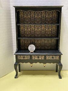Custom Halloween Fall Hutch Black & Gold Dollhouse Miniature 1:12