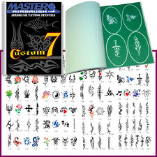 SET 7 BOOK 100 Reusable Airbrush Temporary Tattoo Stencils Kit Arm Band Tribal