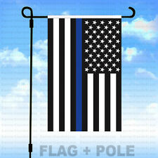 12x18 Garden Flag Pole Kit (Pole+Flag) Blue Lives Police - Thin Blue Line Usa