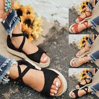 Women Ankle Strap Platform Espadrilles Ladies Summer Slip On Sandals Shoes Size