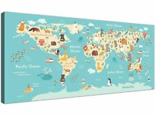 Animal Map of the World Atlas Canvas for Childrens Nursery or Bedroom 120cm Wide