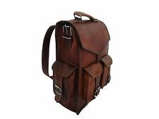 Mens Genuine Soft Leather Vintage Laptop Backpack Rucksack Messenger Satchel Bag