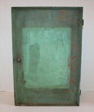 Antique Milk Paint Wall Cupboard Farmhouse Medicine Cabinet Primitive Blue Green