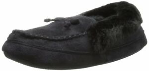 Isotoner Woodlands Memory Foam Moccasin Slippers Black, 5-6 Small #7902