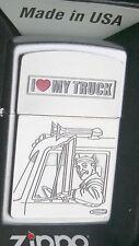 ZIPPO  I LOVE MY TRUCK  Trucker  LKW Truck  PLATTE  CHROM  NEU   +++