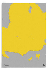 Yellow Grey Pat Modern Abstract Limited Edition Print in A3 Clip Frame