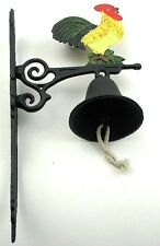 CAST IRON- Wall Mount Painted  Rooster Bell  Country  Decor