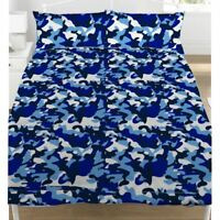 Camouflage Housse de Couette Double & Set Taie D'Oreiller Armée Parure - Bleu