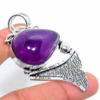 "Sage Amethyst Gemstone Handmade Gift Jewelry Pendant 2.17"" JH"