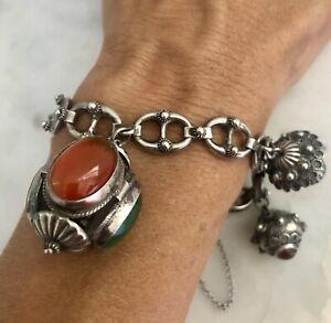 Vtg ETRUSCAN Revival 800 Silver Lapis Carnelian Stone Glass Charm Fob Bracelet