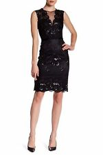 Theia Black Sequin Embroidered Lace Illusion Floral Cocktail Dress NWT Sz 8 $695
