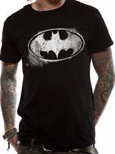 BATMAN Logo Simbolo mono effetto anticato da Uomo T-shirt con licenza Top Nero XL