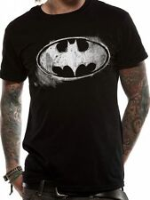 Batman Logo Symbol Mono Distressed T-Shirt Licensed Top Black XL