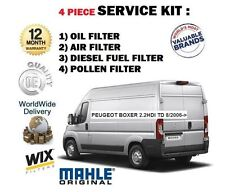 FOR PEUGEOT BOXER 2.2 HDI TD 8/2006->NEW OIL AIR FUEL POLLEN FILTER SERVICE KIT