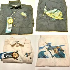 2 Hook & Tackle Mens Embroidered Short Sleeve Shirts Medium