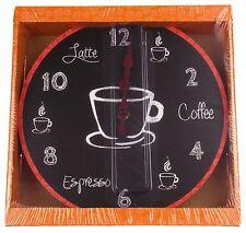 "Coffee Clock Latte Espresso Wall Kitchen Decor G Fun & Sassy 10"" Round Battery"