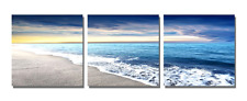 Framed Blue Sky Beach Seascape Modern Picture Wall Art Canvas Prints Home Decor
