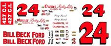 #24 Tiny Lund 1965-66 Ford Galaxie Bill Beck Ford 1/24th - 1/25th Scale Decals