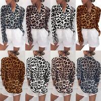 t - shirt long manche mesdames loose. les femmes chemise le léopard max