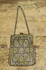 Antique Victorian French Made Micro Beaded Evening Makeup Bag Purse w/ Diamond