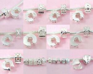 20pcs Silver Plated Mix Clip Lock Stopper Beads Fit Charm Bracelet K02