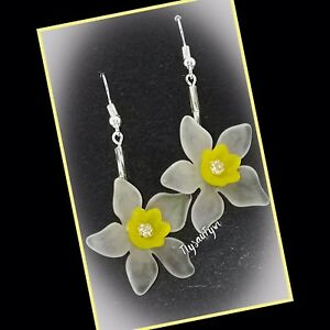 White Daffodil Earrings..Silver Stem...Silver Plated Hooks.