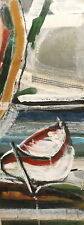 Vintage abstract oil painting seascape boat