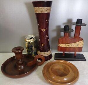 lot of 4 vintage Wood Candlesticks Candle Holders & Carved Wooden Vase Home Deco