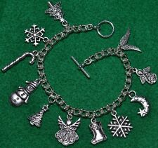Tibetan Silver Charm Bracelet 11 Different Charms Free Gift Bag