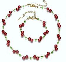 Red Beads Beaded Green Crystal Necklace Bracelet Jewellery Set UK