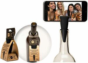 Selfie Cork Universal Bottle Stopper Monopod Handsfree for Photos Videos, Black