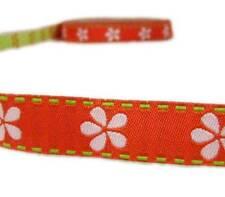 "2 Yds Orange White Daisy Flower Stitched Woven Jacquard Ribbon 3/8""W"