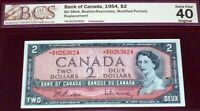 """Only 80k Printed * R/R Replacement 1954 $2  BANK OF CANADA"