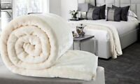 Cream Large Luxury Faux Fur Throw Sofa Bed Mink Soft Warm Blanket Double & King