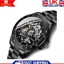 Luxury Automatic Mechanical Watch Mens Skeleton Black Steel Stainless Wristwatch